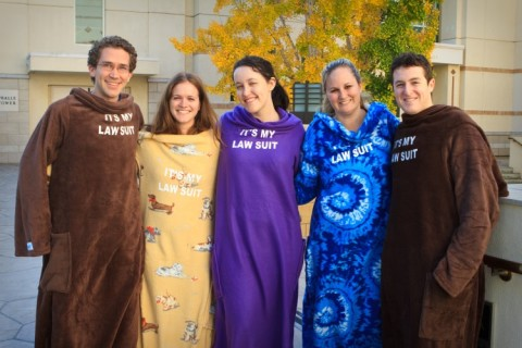 Among the Snuggie winners are (from left) Harrison Brown, Melissa Bohl, Mary Collins, Katie Haldorsen and Alex Joseph.