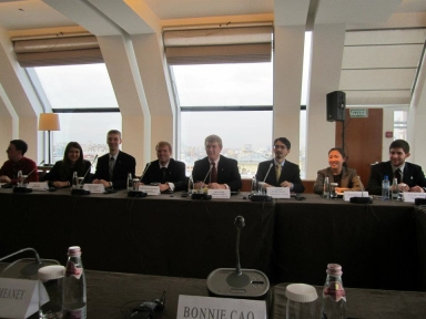 Seated with other Kremlin Fellows is Megan Demshki, second from left, during a panel discussion.