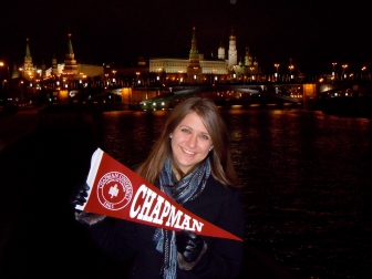 Megan Demshki carries the Chapman pennant to Moscow during her visit as a Kremlin Fellow.